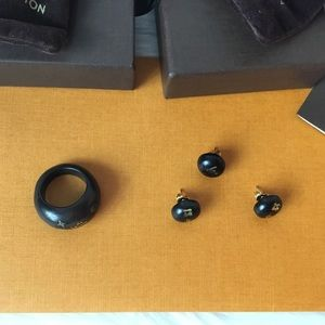 Black Gold-tone Silvania Stud Earrings and Ring